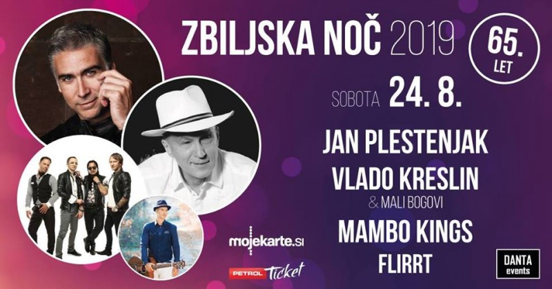 Tickets for Zbiljska noč 2019: Jan Plestenjak, Vlado Kreslin, Mambo Kings, Flirrt, 24.08.2019 um 20:00 at Zbiljsko jezero, Zbilje